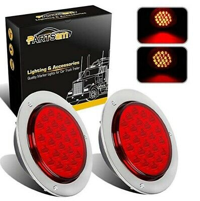 2x 4 Inch Red 24 LED Round Brake Stop Turn Signal Tail Light Lamp For Car Truck