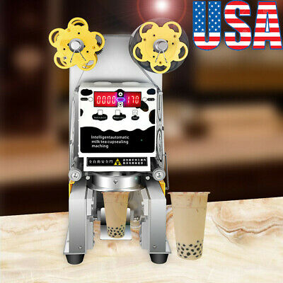 110V Stainless Steel Electric Automatic Plastic Tea Cup Sealer Sealing Machine