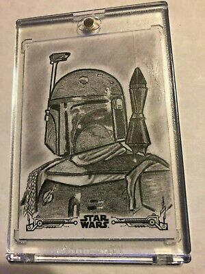 2018 Topps Star Wars Black & White sketch by Veronica Smith of Boba Fett 1 of 1