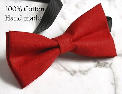 Red Cotton Solid Bow tie for Men Adult / Youth / Boy Kids / Baby Infant Toddler