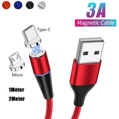 1M/2M 3A Micro USB Magnetic Fast Charger Charging Cable For Android Type C Lot