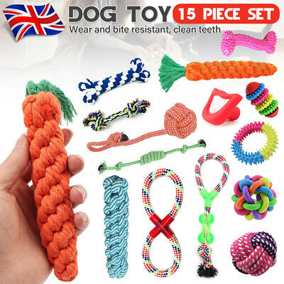 15x Dog Cotton Rope Strong Tough Chew Knot Toy Puppy Pet Teeth Cleaning Healthy
