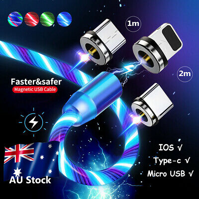 AU LED Flowing Round Magnetic Fast Charger Cable For Type-C Micro USB iPhone 7 6