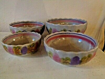 4 Ceramic  Vintage Ninon MBFA Painted Pottery French Serving Bowls Floral