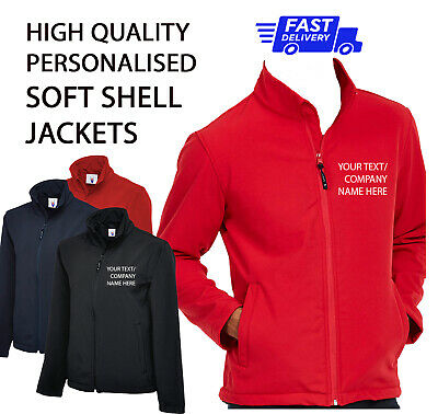Personalised HQ Soft Shell Jacket Work Wear Printed with Company TEXT Waterproof