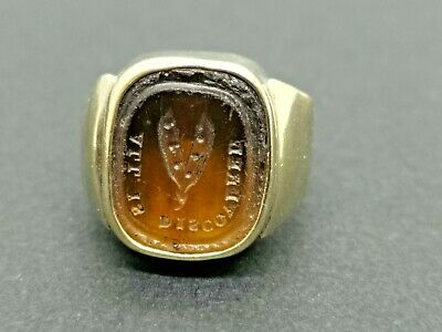 Antique 1700s Heavy Gents solid gold ring with brown Stuart Glass