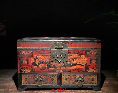 11.2rare China antique Qianlong Lacquer ware Coloured drawing Dowry box