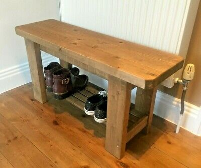 Rustic Handmade Wooden Bench with Shoe Rack - Many Colours and Sizes.