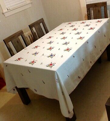 """Vintage Hand Embroidered Tablecloth 104"""" x 64"""" Croched Edges Multi Floral"""