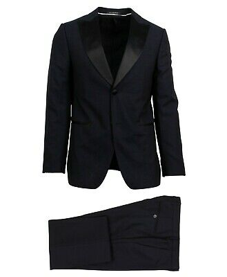 NWT Z ZEGNA Navy Small Check Wool Two Button Suit Size 46/36 R Drop 7 $2595
