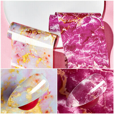 Marble Nail Art Foils Glitter Transfer Stickers Decal Decor Manicure Tips DIY