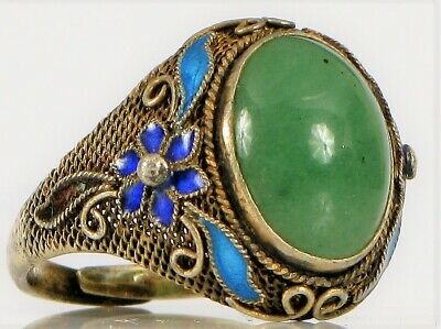 Antique Chinese Export Silver Beautiful Green Jade Flower Enamel Ring 5.3 Grams