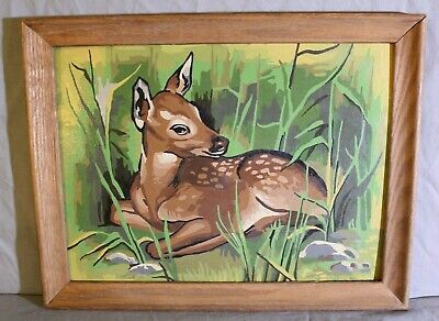 VINTAGE Framed Fawn Baby Deer Paint By Number PBN ART