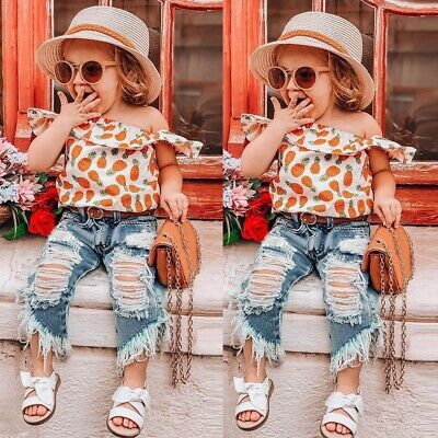 Toddler Kids Baby Girls Outfits  Pineapple Print Shirt Top+Hole Jeans Pants Set