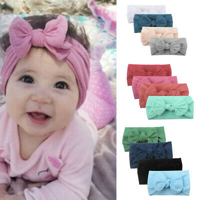 4PC Girls Baby Toddler Turban Solid Headbands Hair Band Bow Accessories Headwear