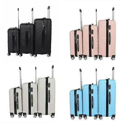 Suitcase Hard Shell Trolley 4 Wheel Set of 3 Lightweight Luggage Travel Cases