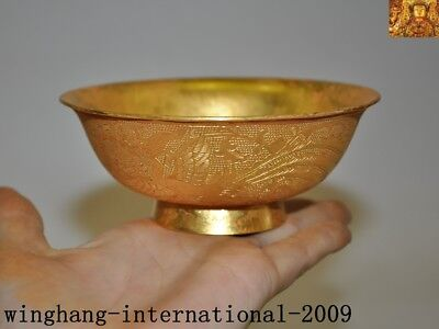 antique Old China Dynasty palace Bronze 24k gold Gilt Phoenix bird Tea cup bowl