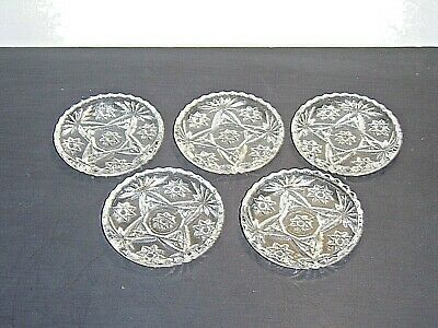 "5 Anchor Hocking Early American Prescut 3-3/4"" Coasters Star of David EAPC"