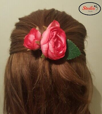 Hair Clips Rose Flower Women Girls Hair Clip Bridesmaid Handmade Fascinator Gift