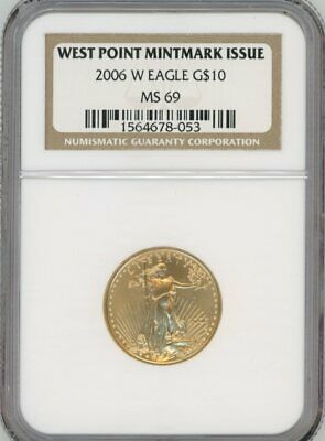 2006-W American Eagle Gold $10 West Point Mintmark Issue, MS 69 - NGC