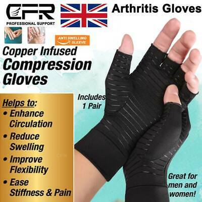 Copper Compression Fingerless Gloves Anti Arthritis Brace Support Pain Relief UK