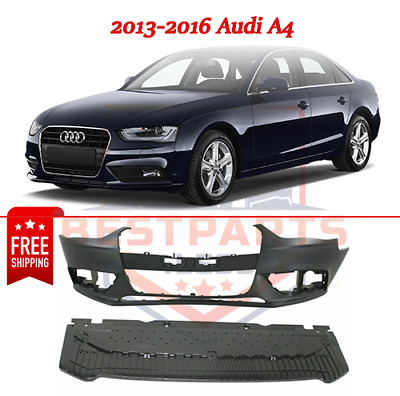 Front Bumper Cover For 2013-2016 Audi A4 w// Tow Hook Cover Primed Plastic