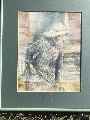 New Orleans Genre Painting, Signed Watercolor, C. 1970