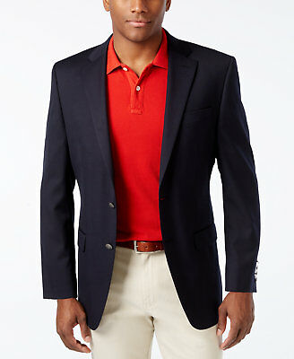$595 Michael Kors Mens Classic Fit Wool Sport Coat Blue Suit Jacket Blazer 40r