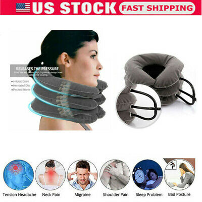 Air Inflatable Neck Pillow Cervical Head Traction Pain Relief Therapy Device USA