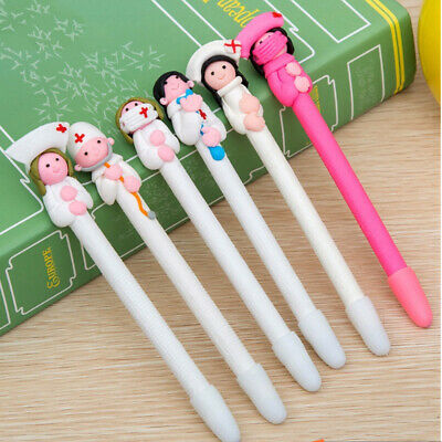 Ballpoint Pen Ballpen Black Nib 0.5MM Cartoon Nurse Pen Soft Clay Stationery US