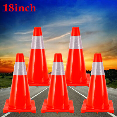"""5Pcs/Set 18"""" Traffic Cone Road Parking Self Weighted Overlap Safety Cone Barrier"""