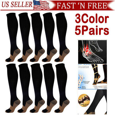 5 Pairs Copper Infused Compression Socks 20-30mmHg Graduated Mens Womens 2SIZE