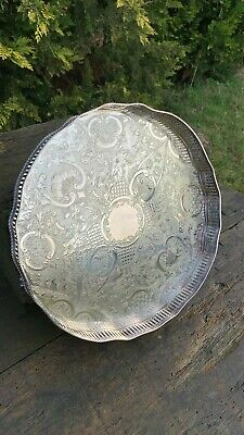 Beautiful Vintage Silver Plated On Copper Sheffield Serving Tray *