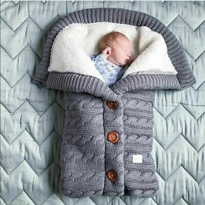 Warm Baby Blanket Knitted Newborn Swaddle Wrap Soft Cotton Envelope For Stroller