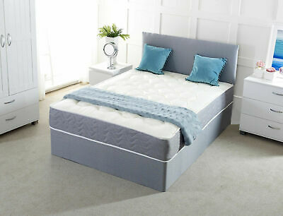 New Suede Divan Bed Base - Storage Drawers Headboard 4Ft6 5Ft 6Ft Cream Brown