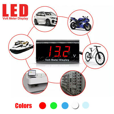 IPX6 Waterproof 12V Digital Blue/White 3-digit LED Voltmeter Volt Meter For Car