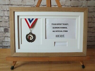 Medal Frame-REAL WOOD- Displays 1X Running medal-photo (L or P) title box