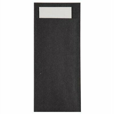 Europochette Kraft Black Cutlery Pouch with Napkin (Pack of 600) GK917 [S6EW]