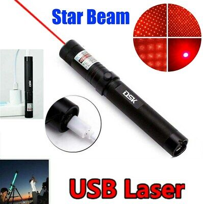 500Miles Star Pattern Lazer 650nm Red Laser Pointer Pen Rechargeable with Batt