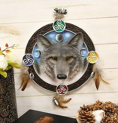 "Ebros 12"" Diameter Wolf Round Dreamcatcher with Feathers Wall Hanging Decor"