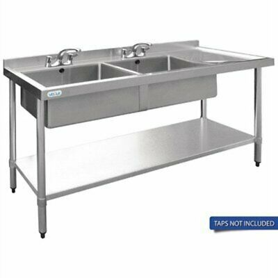Vogue Double Bowl Sink R/H Drainer - 1800mm 90mm Drain HC907 [PE38]