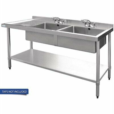 Vogue Double Bowl Sink L/H Drainer - 1500mm 90mm Drain HC905 [6SOQ]