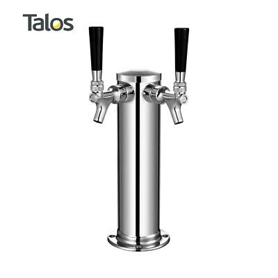 "Talos Draft Beer Kegerator Tower, Stainless Steel Beer, 3"" Column (2 Tap/Faucet)"