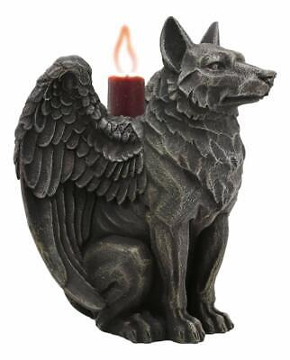 "Ebros Gothic Angel Winged Wolf Candle Holder Statue Direwolf Fantasy Decor 5""H"