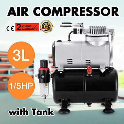 1/5HP Air Compressor with Tank for Air Brush Spray Gun Nail Art Make Up Tattoo
