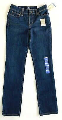 NWT St. John's Bay Womens Jeans Secretly Slender DarkTint Straight Leg MidRise 4