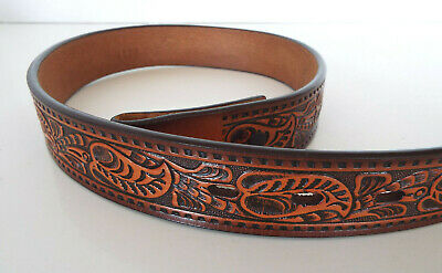 Child's Brown Belt Size 24 Vintage Tooled  3-D Genuine Leather DDD Western Boys