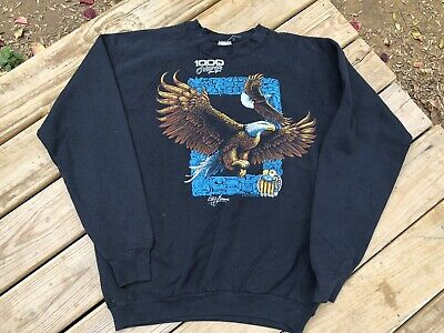 Vtg 80s New York Bald Eagle 1000 Islands Fruit Of The Loom Made In Usa Crewneck