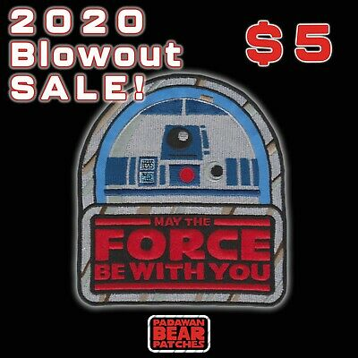 """STAR WARS""""May The Force Be With You"""" Kenner toy style logo iron-on R2-D2 patch"""
