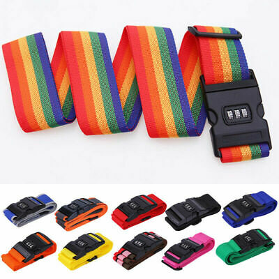 Travel Luggage Suitcase Strap Password Baggage Backpack Bag Rainbow Color Belt